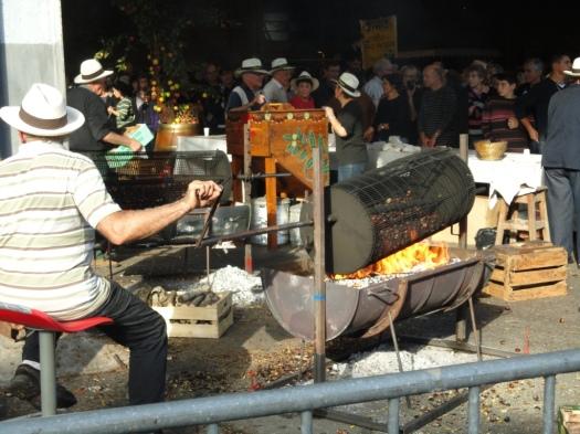 Grilling chestnuts at the Laguépie foire à la châtaigne