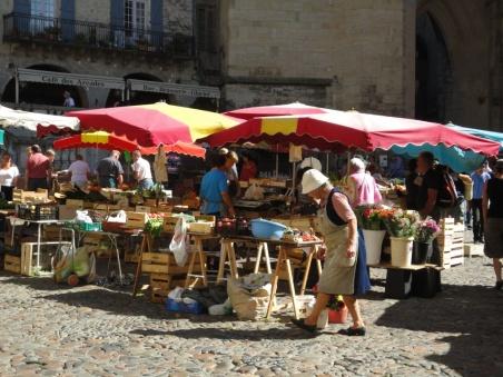 Summer market stalls at Villefranche