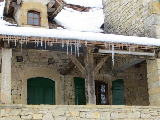 Fine show of icicles hanging from the bolet roof