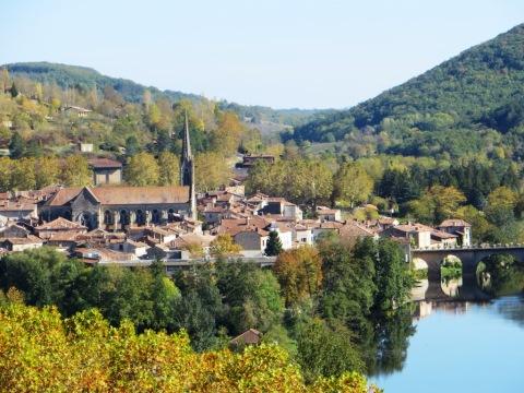 Terracotta rooftops of Saint-Antonin by the Aveyron