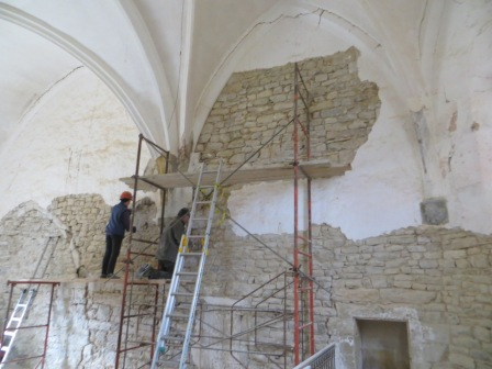 Part of the vaulting during our work to remove the plaster