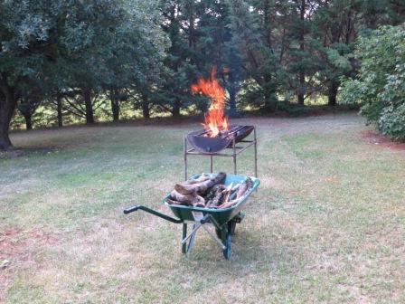 Barbecue blazing merrily