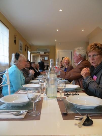 Lunch with authors - Claude Clément (foreground, blue), Amanda Hodgkinson, (centre, blonde).