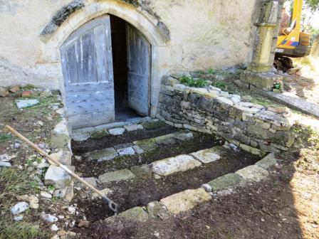 Steps down to the chapel entrance