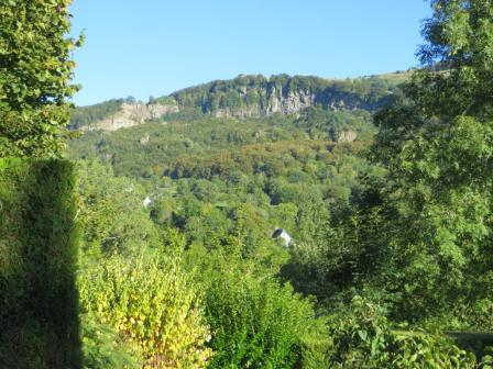 Thiézac - view from hotel under cloudless skies