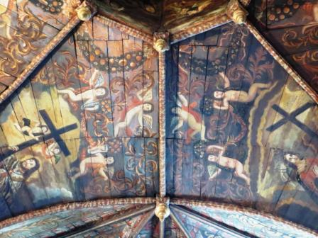 Ceiling of chapelle des Pénitents Noirs showing the cult of the Cross