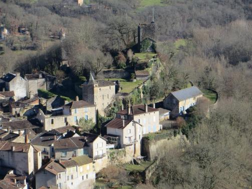 The village of Caylus below its château. A far cry from its heyday