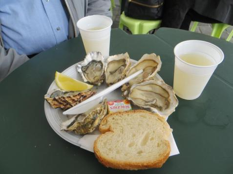 Plate of oysters at the Chartrons market
