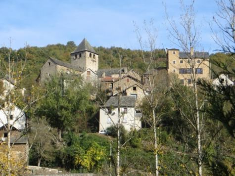 The village of Lagarde Viaur with the fortified church on the left