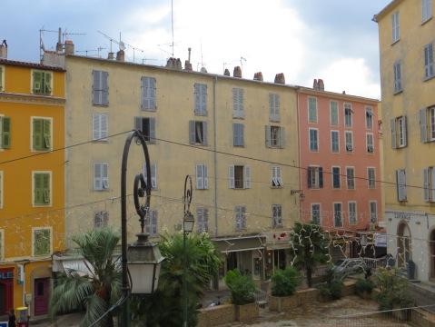 Shutters on apartment buildings in Ajaccio, Corsica