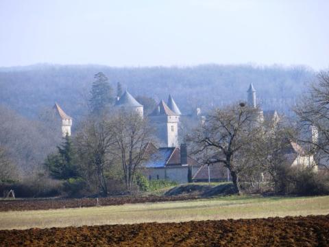 Château de Cornusson in the hazy distance