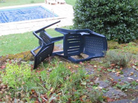Chairs strewn around