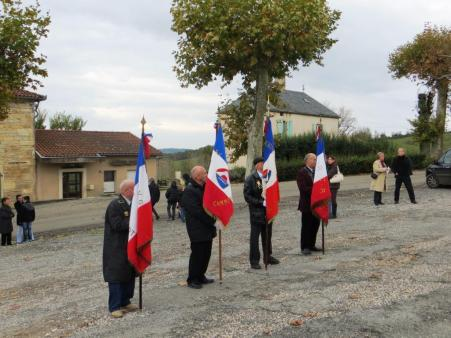 Ancien combatants bearing le tricolore at the 11th November ceremony
