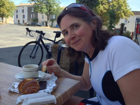 Jacqui Brown enjoying a well-earned pâtisserie after a cycle ride