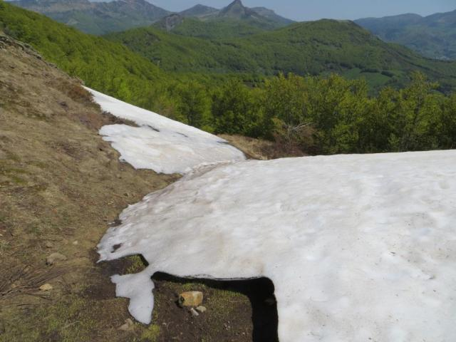 """Patch of snow 6"""" deep on the flank of Elancèze"""