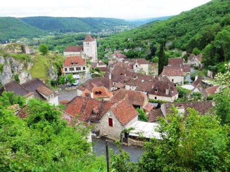 View of Saint-Cirq-Lapopie from above