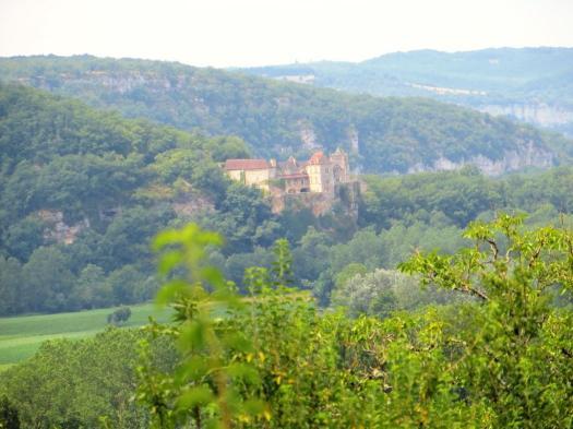 Le Château de Cénevières from Calvignac - on a hazy day