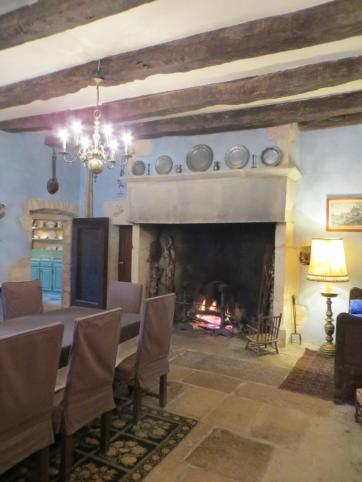 Vast fireplace in the dining room