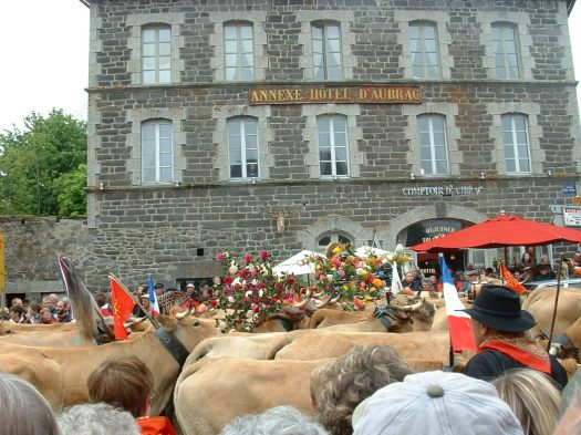 Main square in the village of Aubrac, where the transhumance festivities take place