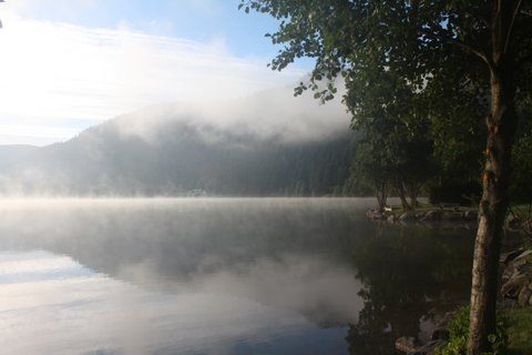 The early morning view from Angela's pitch at Lac Longemer